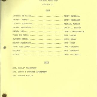 "LAVERNE & SHIRLEY: ""Helmut Weekend"" Script"
