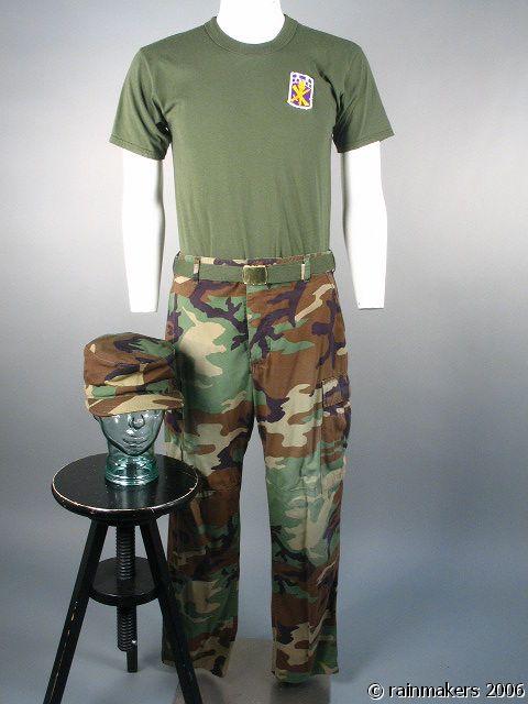 HOOT: Drill Sargent Camo Cap, Pants, Shirt & Belt 1