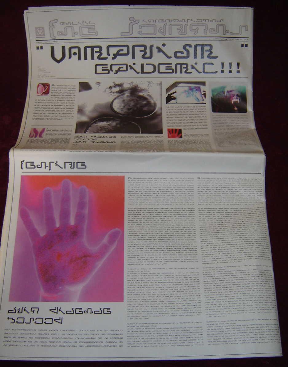 ULTRAVIOLET: Futuristic Newspaper w/Photo & Symbol 1