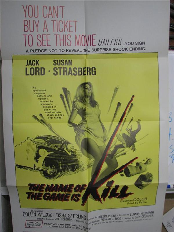 1968 VINTAGE POSTER: THE NAME OF THE GAME IS KILL
