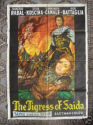 1951 VINTAGE POSTER: THE TIGRESS OF SAIDA